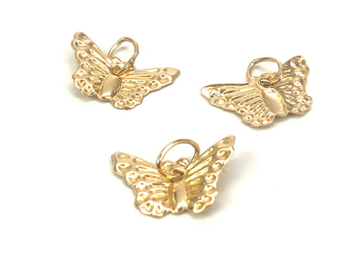 14K solid gold butterfly charm, SKU#243-C