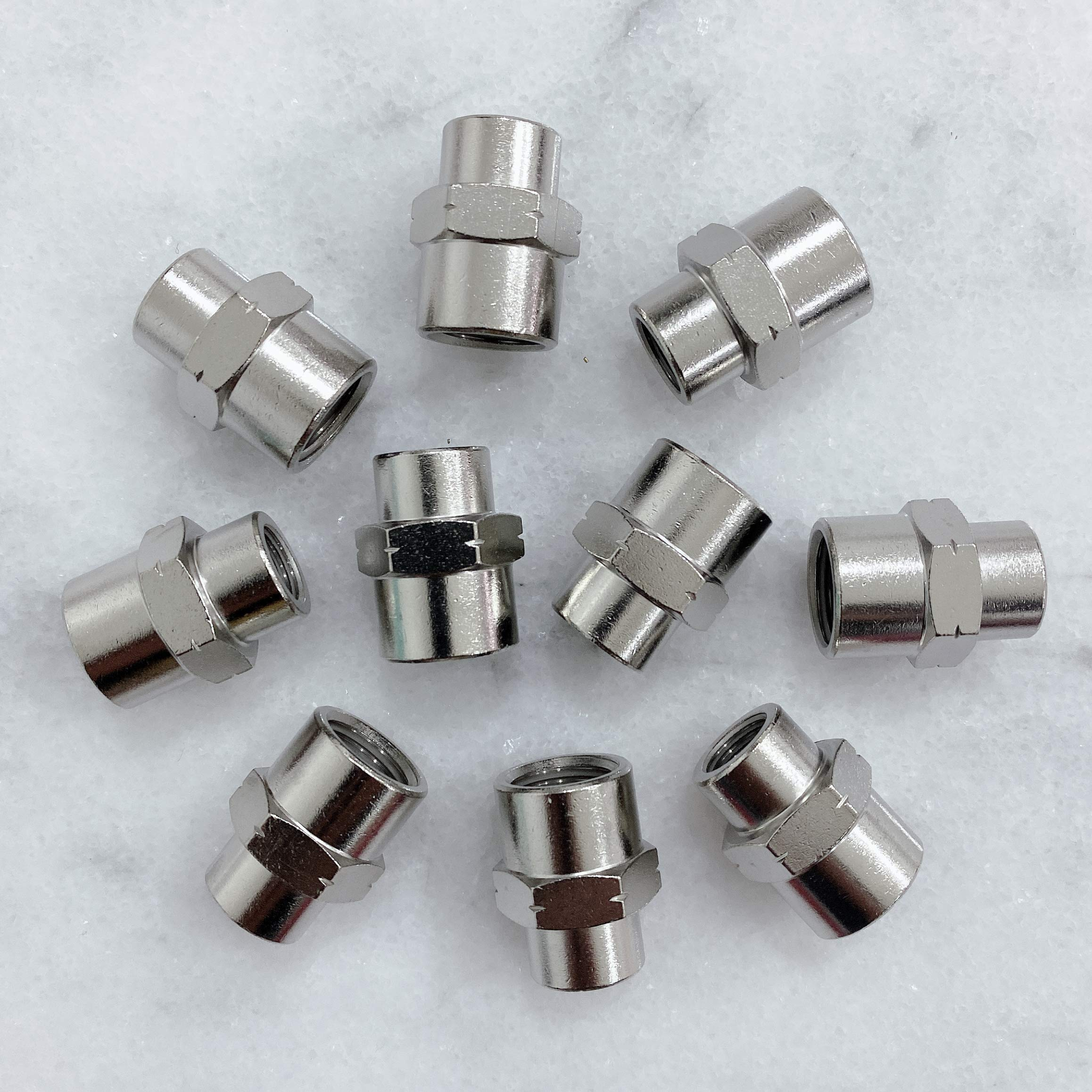Pack of 10 MacCan Pneumatic JNT-N2 Female Tee 1//4 x 1//4 x 1//4 NPT Female Pipe Nickel Plated Brass Pipe Fitting