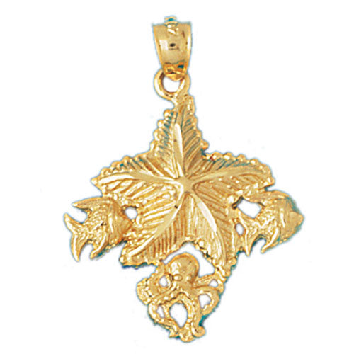 14k Yellow Gold Starfish wish fish Charm