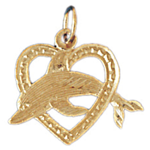 14k Yellow Gold Dolphin jumping through heart Charm