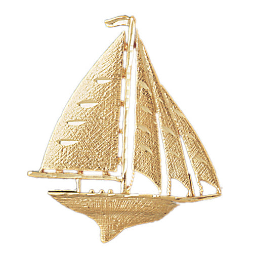 14k Yellow Gold Sailboat Charm