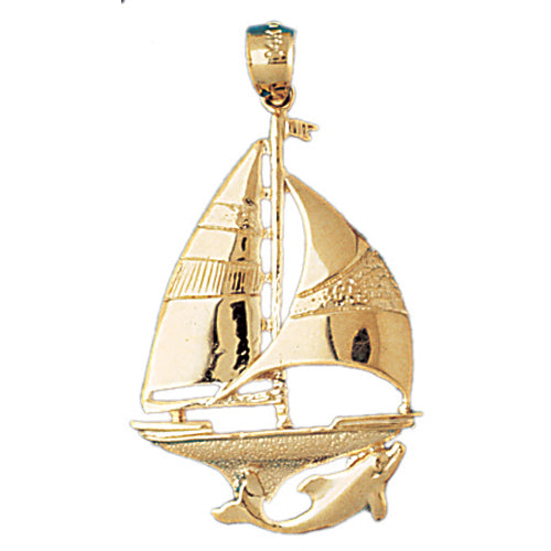 14k Yellow Gold Sailboat with Dolphin Charm