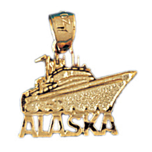14k Yellow Gold Alaska Ship Charm