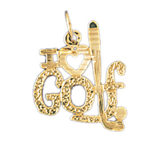 14k Yellow Gold I love golf Charm