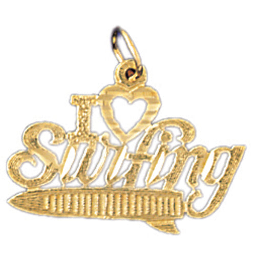 14k Yellow Gold I love surfing Charm