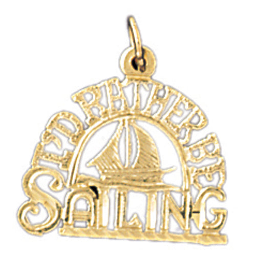 14k Yellow Gold I'd rather be sailing Charm