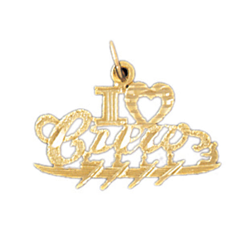 14k Yellow Gold I love crew Charm