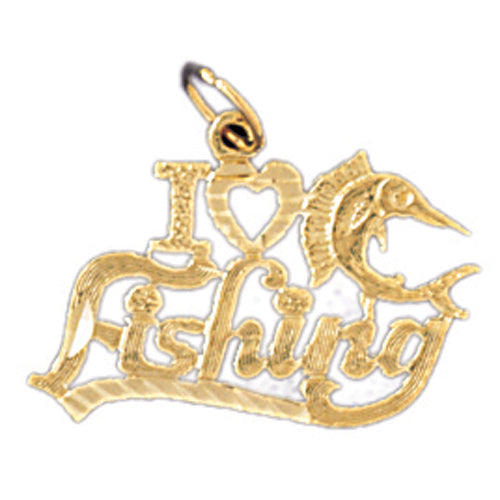 14k Yellow Gold I love fishing Charm