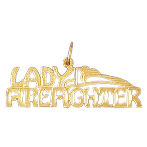 14k Yellow Gold Lady Firefighter Charm