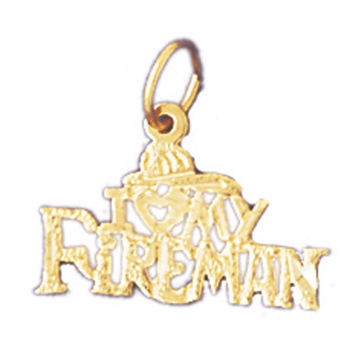 14k Yellow Gold I love my fireman Charm