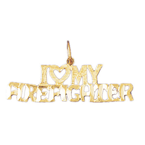 14k Yellow Gold I love my firefighter Charm