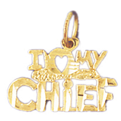 14k Yellow Gold I love my chief Charm