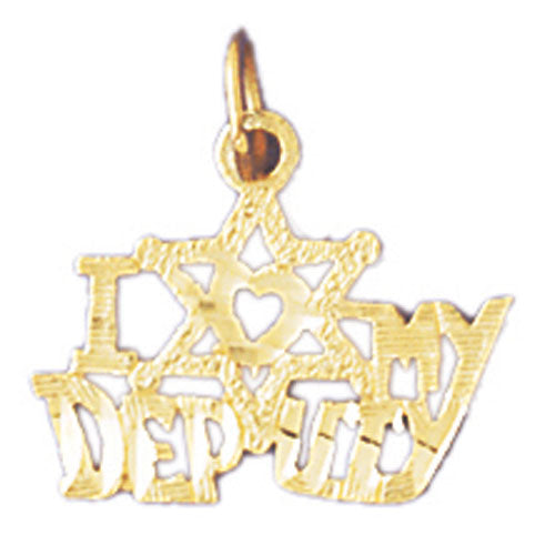14k Yellow Gold I love my deputy Charm