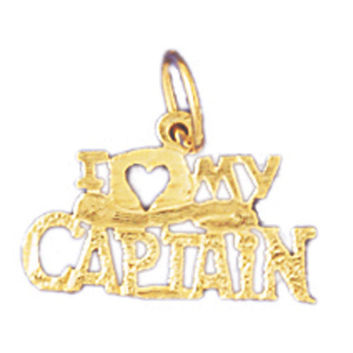 14k Yellow Gold I love my captain Charm