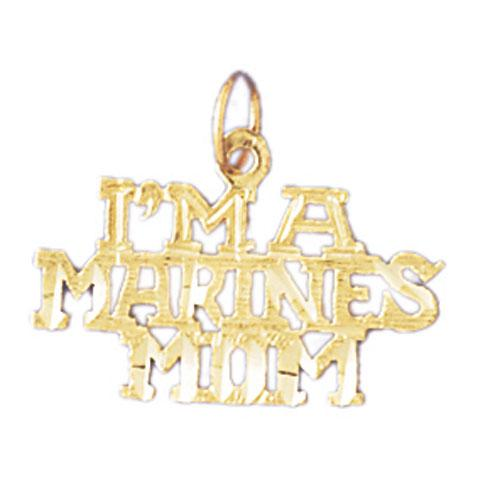 14k Yellow Gold I'm a marines Mom Charm