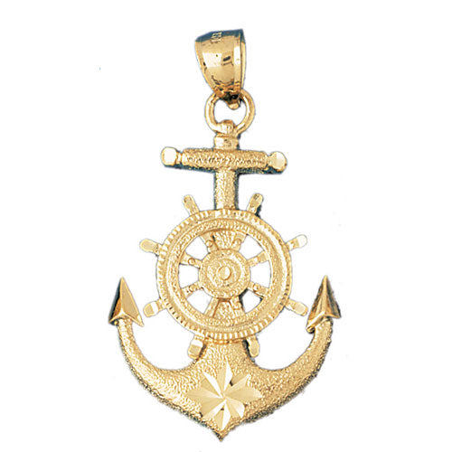 14k Yellow Gold Anchor with Ships Wheel Charm