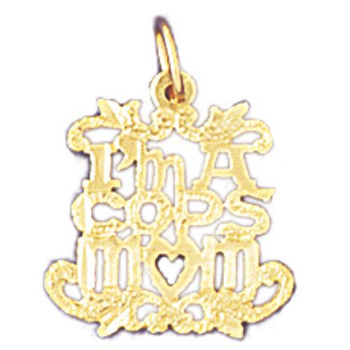 14k Yellow Gold I'm a cops Mom Charm
