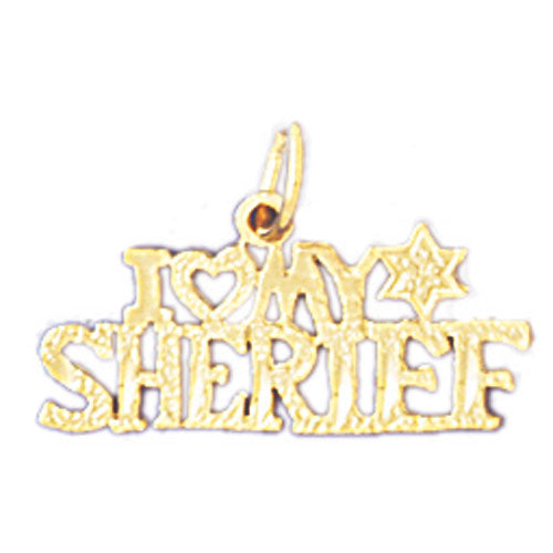 14k Yellow Gold I love my sheriff Charm