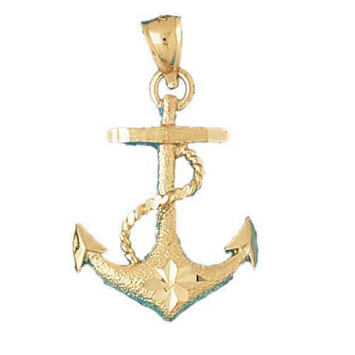 14k Yellow Gold Anchor with Rope Charm