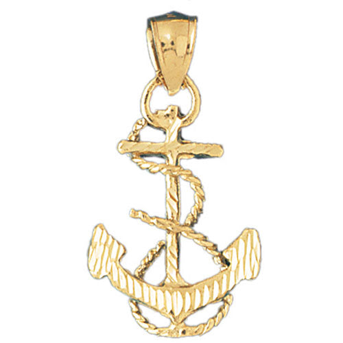 14k Yellow Gold Anchor with Rope 3-D Charm