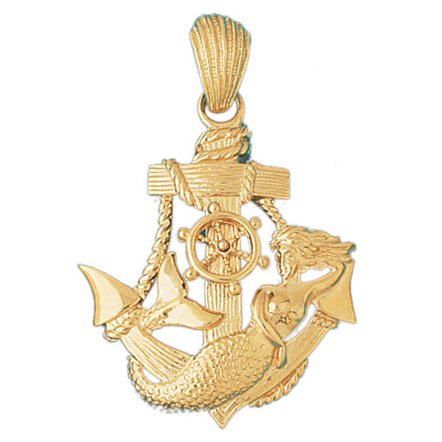 14k Yellow Gold Anchor Mermaid Charm