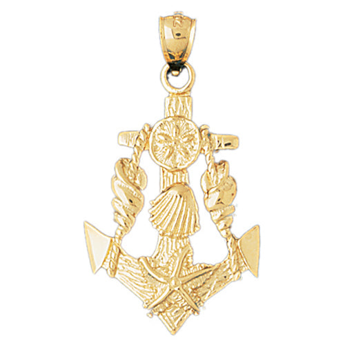 14k Yellow Gold Anchor with Shells Charm