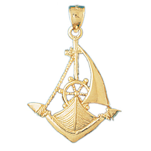 14k Yellow Gold Sailboat with Anchor Charm