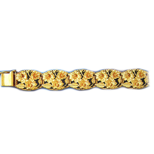 14k Yellow Gold Plumeria Bracelet with safety clasp