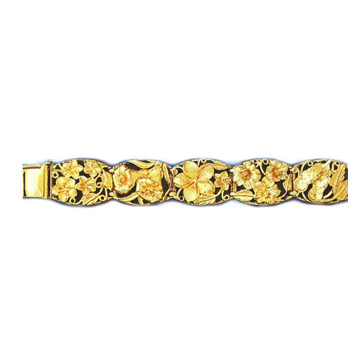 14k Yellow Gold Plumeria and Sandal Bracelet with safety clasp