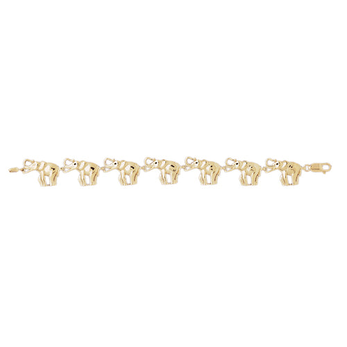 14k Yellow Gold Elephant Bracelet