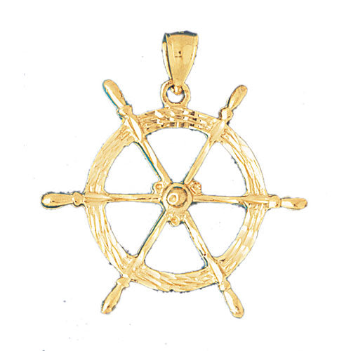 14k Yellow Gold Ships Wheel Charm