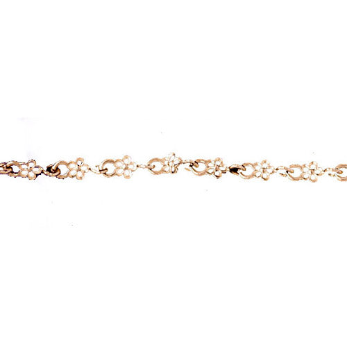 14k Yellow Gold Assorted Flower Bracelet