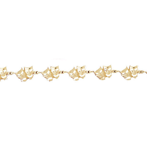 14k Yellow Gold Drama Mask Bracelet