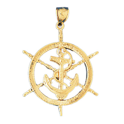 14k Yellow Gold Ships Wheel with Anchor Charm