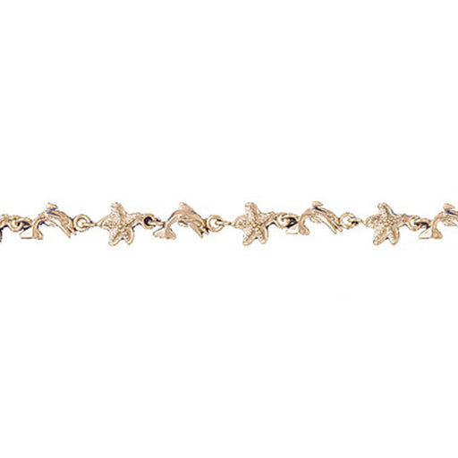 14k Yellow Gold Starfish and Dolphin Bracelet