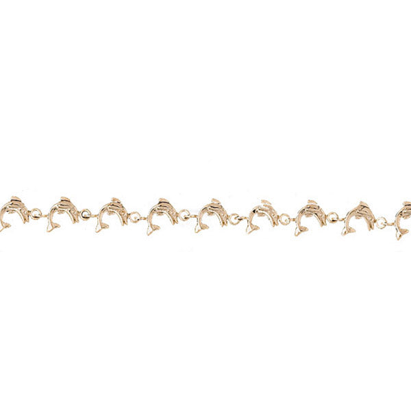 14k Yellow Gold Dolphin Bracelet