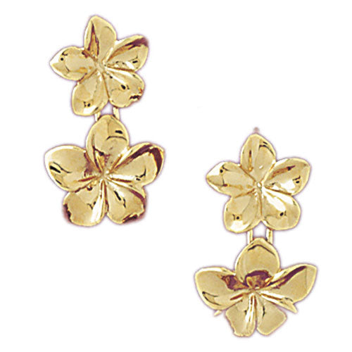 14k Yellow Gold Plumeria Drop Earrings