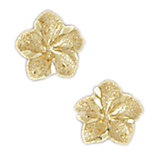14k Yellow Gold Plumeria Stud Earrings