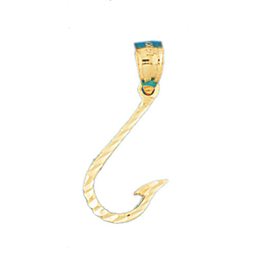 14k Yellow Gold Fish Hook Charm