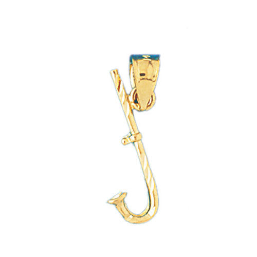 14k Yellow Gold 3-D Fish Hook Charm