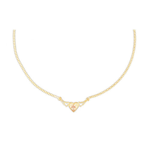 14k Yellow Gold Heart with a Cross Necklace