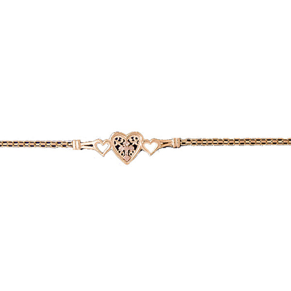 14k Yellow Gold Heart with a Cross Bracelet