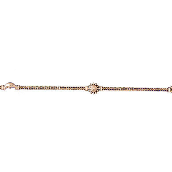 14k Yellow Gold Moon, Sun and Star Bracelet