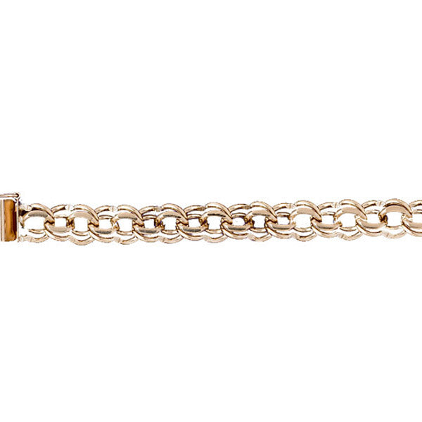 14k Yellow Gold Charm Bracelet with a safety clasp