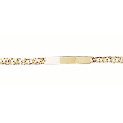 14k Yellow Gold ID Bracelet with a safety clasp