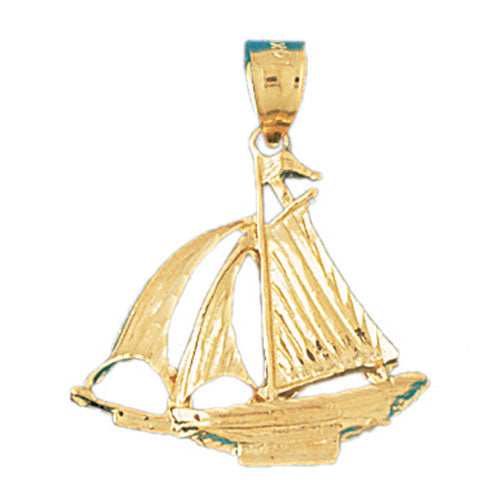 14k Yellow Gold 3-D Sailboat Charm