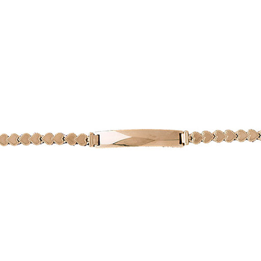 14k Yellow Gold Heart ID Bracelet