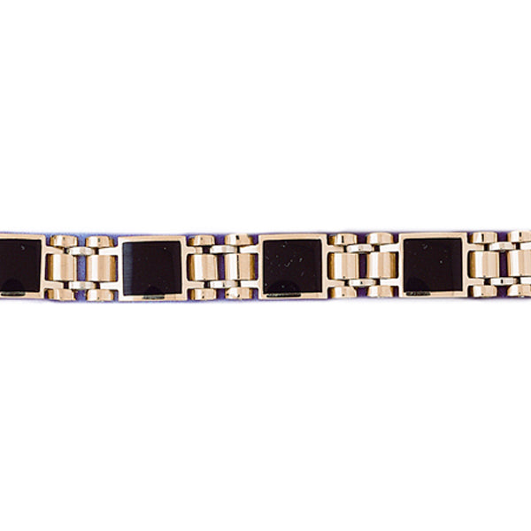 14k Yellow Gold Black Onyx Bracelet with a safety clasp