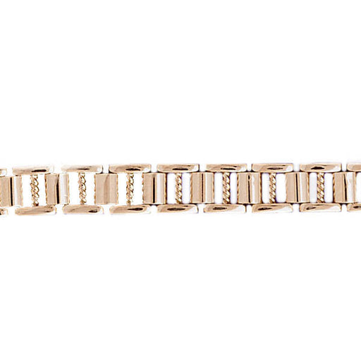 14k Yellow Gold Fancy Men's Bracelet with a safety clasp