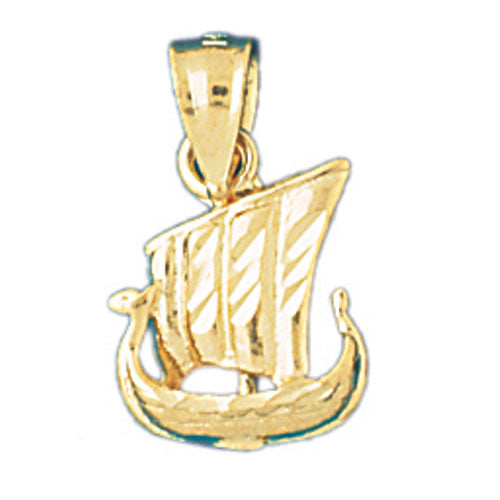 14k Yellow Gold 3-D Pirate Ship Charm